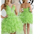 2012 Hot Sale Strapless Green Organza Ruffled Beaded Cocktail Dress Homecoming Dress P7