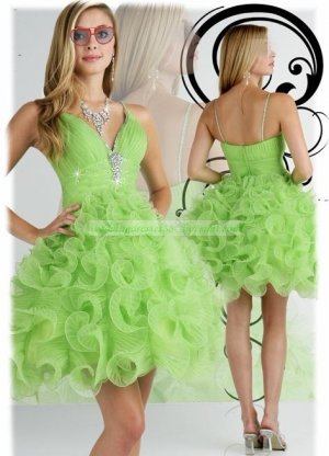 2012 Hot Sale Strapless Green Organza Ruffled Beaded Cocktail Dress Homecoming Dress P7