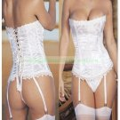 Sexy Lingerie Floral Brocade Overbust Corset Sweetheart with Lace Up Back  Bodysuits S49