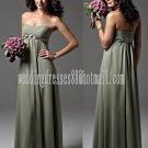 Custom Prom Dress Sage Green Chiffon Bridesmaid Dress Braided Long Olive Empire Evening Dress 6 PCS