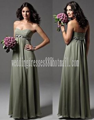 Custom Prom Dress Sage Green Chiffon Bridesmaid Dress Braided Long Olive Empire Evening Dress 6 PCS