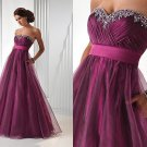 Bridesmaid Dress Stock Strapless Purple Organza Beaded Prom Dress Empire Waist Party Dress
