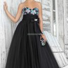 Free Shipping Strapless Black Organza Ruffled Beaded  Prom Dress Party Dress