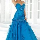 Free Shipping Strapless Blue Pink Taffeta Organza Ruffled Beaded Prom Dress Party Dress