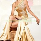 2012 Hot Sale One Shoulder Gold Stretch Sain Ruffled Beaded Evening Dress Party Dress 49-7