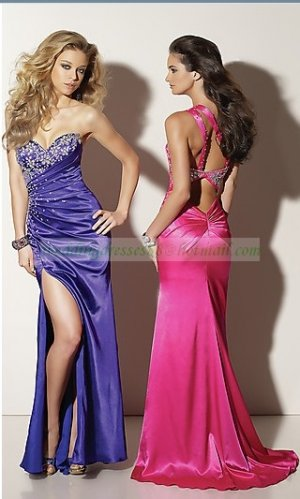 2012 Hot Sale One Shoulder Blue Red Stretch Sain Ruffled Beaded Evening Dress Party Dress 49-9