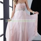2012 Hot Sale Strapless Pink Chiffon Ruffled Beaded Evening Dress Party Dress 49-10