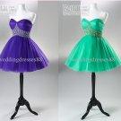 2012 Hot Sale Strapless Purple Green Organza Ruffled Beaded Cocktail Dress Homecoming Dress