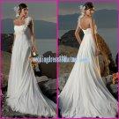 White Chiffon Maternity Wedding Dress One Shoulder Empire Waist Beach Bridal Gown