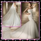 Strapless Mermaid Organza Lace Fashion Wedding Dress,Free Shipping White Bridal Gown M050