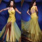 2012 New One Shoulder Front Slit Evening Dress Yellow Chiffon Beaded Prom Dress
