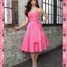 Custom Made 2012 Strapless Pink Red Taffeta Ruffled Tea-length Bridesmaid Dress/Party Dress BD149
