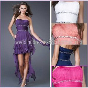 Strapless Purple Red Blue Coral Chiffon Ruffled Beaded Cocktail Dress Hi-low Homecoming Dress C160