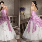 Strapless Prom Dress  Purple Taffeta White Organza Ruffled Peach Quinceanera Dress & Jacket
