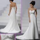 Strapless White Chiffon Empire Maternity Bridal Gown Ruffled Beaded Wedding Dress Mg054