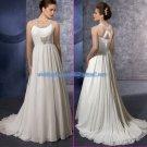 Halter Jeweled White Chiffon Beaded Maternity Wedding Dress Empire Waist Bridal Gown Cross Back