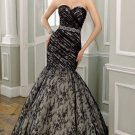 2012 Strapless White Black Lace Ruffled Beaded Mermaid Wedding Dress Bridal Dress 1651