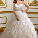 2012 Strapless White Organza Cascading Ruffles Beaded A-line Wedding Dress Bridal Dress1803