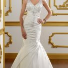 2012 Double Straps Ivory Satin Ruffled Applique Beaded Mermaid Wedding Dress Bridal Dress 1810