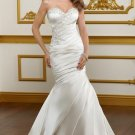 2012 Strapless Ivory Satin Ruffled Applique Beaded Buttons Mermaid Wedding Dress Bridal Dress 1822