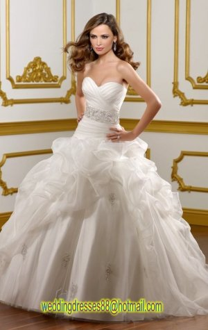 2012 Strapless White Organza Ruffled Applique Beaded A-line Wedding Dress Bridal Dress1823
