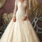 2012 Long Sleeves  White Organza Lace Ruffled Applique Beaded A-line Wedding Dress Bridal Dress1851