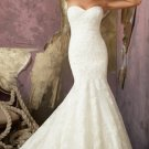 2012 Strapless White Lace Ruffled Applique Buttons Mermaid Wedding Dress Bridal Dress 1862