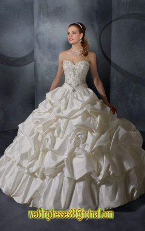 2012 Strapless Ivory Taffeta Ruffled Embroidery Beaded  A-line Wedding Dress Bridal Dress 2915