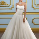2012 Strapless White Tulle Ruffled Feather Beaded  A-line Wedding Dress Bridal Dress 4901