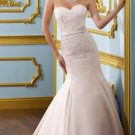 2012 Strapless White Organza Lace Ruffled Applique Beaded Mermaid Wedding Dress Bridal Dress 4902