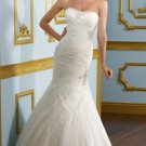 2012 Strapless White Tulle Ruffled Applique Beaded Mermaid Wedding Dress Bridal Dress 4907