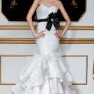 2012 Strapless White Organza Satin Black Belt Ruffled Mermaid Wedding Dress Bridal Dress 5598