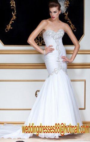 2012 Strapless White Organza Ruffled Beaded Mermaid Wedding Dress Bridal Dress 58163