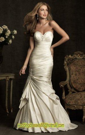 2012 Strapless Ivory Satin Ruffled Beaded Mermaid Bridal Gown Wedding Dress 8912