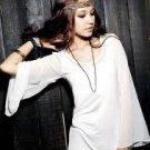 Long Sleeves White Chiffon Ankle Length  Simple Wedding Dress Evening Dress