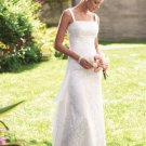 2012 Double Strraps White Lace Beaded Chiffon Bridal Gown Wedding Dress 19105