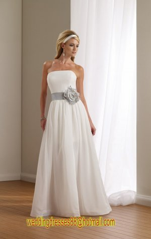 2012 Strapless White Satin Chffion Silver Belt Flower  A-line Wedding Dress Bridal Dress 112102