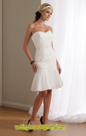 2012 Strapless white Organza Lace Applique Beaded Short wedding dress 112110
