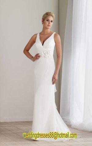 2012 Double Straps V-neck White Chiffon Ruffled Beaded Flowers wedding dress 211190