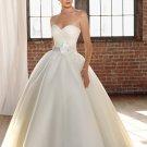 2012 Strapless White Satin Organza Ruffled Beaded Button A-line wedding dress 4808