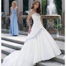 2012 Strapless White Taffeta Lace Applique Beaded A-line wedding dress Y1900