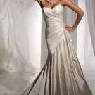 2012 Strapless Ivory Satin Ruffled Applique Beaded A-line wedding dress Y11102