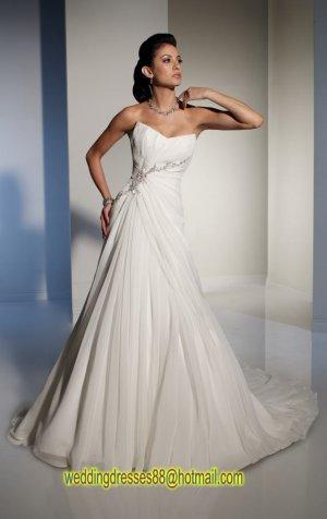 2012 Strapless White Chiffon Ruffled Beaded A-line wedding dress Y21151
