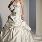 2012 Strapless Ivory Satin Ruffled Applique Beaded Flowers A-line wedding dress Y21152