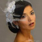 Bridal Veil Accessories Exporter- Ivory White Two Flowers Feather Birdcage Wedding Dress Veil VE06