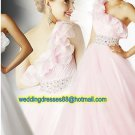 One Shoulder White Pink Organza Ruffled Beaded Prom Dress Party Dress A02