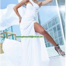One Shoulder White Flowers Ruffled Beaded Prom Dress Party Dress A03
