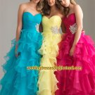 Strapless Yellow Red Blue Organza Ruffled Beaded Prom Dress Party Dress B