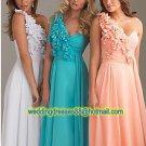 One Shoulder White Blue Pink Chiffon Ruffled Beaded Flowers Evening Dress Party Dress k