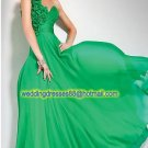 One Shoulder Green Chiffon Ruffled Beaded Flowers Evening Dress Party Dress R